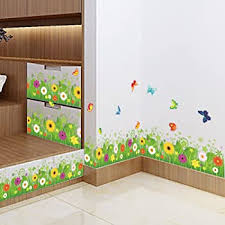 Amazon Com Windspeed Baby Bedroom Butterfly Grass Flower Wall Sticker Decor Decals Baseboard Removable Wall Stickers Baby