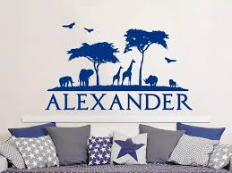 Wall Decal Custom Name African Safari Vinyl Sticker Decals Personalized Nursery Decor Kids Room Childrens Bedroom Posters P199 Wall Stickers Aliexpress