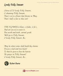 Lovely Polly Stewart Poem by Robert Burns