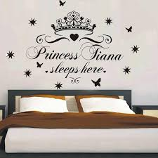 Custom Name Princess Sleeps Here Nursery Vinyl Wall Art Sticker Crown Wall Decal For Children Girls Room Bedroom Door Decor Crown Wall Decals Name Wall Decalswall Decals Aliexpress