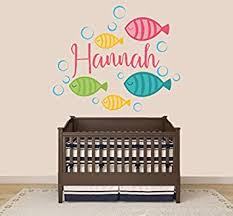 Amazon Com Custom Name Colorful Fish And Bubbles Baby Boy Girl Nursery Wall Decal For Baby Room Decorations Mural Wall Decal Sticker For Home Children S Bedroom J257 Wide 32 X27 Height Baby