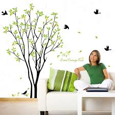 Large Green Tree Flying Black Birds Wall Sticker Decal For Kids Room Living Room Online Discover Hottest Trend Fashion At Chicme Com