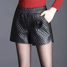 thick quilted pu leather shorts women s
