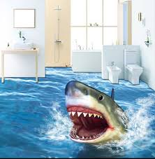 Beautiful 3d Floor Stickers For Bathroom Jaws Bathroom Decor Vinyl Flooring Floor Stickers Flooring