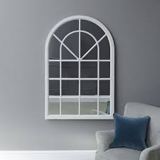 fleur small arched framed mirror white