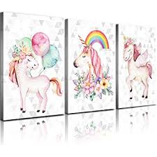 Amazon Com Wall Art For Kids Room Unicorns Canvas Bedroom Wall Decor Pink Rainbow Balloon Pictures Bathroom Living Room Poster Funny Cute Nursery Girls Children S Home Decoration Frame 3 Pcs 12x16 Everything Else
