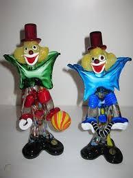 murano italian art glass clowns