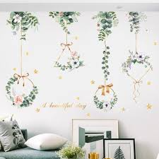 Romantic Hanging Green Flower Garland Wall Stickers Natural Botany Decals Living Room Wall Decor Greenery Planting Leaf Murals Girls Room Thefuns On Artfire