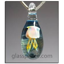 jellyfish necklace lampwork blown glass