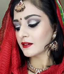 indian bridal makeup silver red