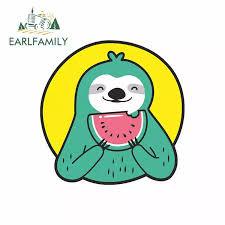 Earlfamily 13cm X 13cm For Watermelon Sloth Funny Car Stickers Vinyl Sunscreen Rv Van Fine Decal Jdm Car Accessories Logo Car Stickers Aliexpress