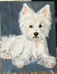 "Original Acrylic Painting of Abby, West Highland Terrier / Westie 14"" x 11""  