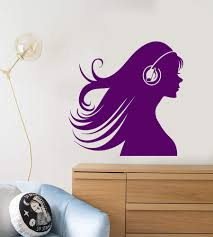 Vinyl Wall Decal Silhouette Girl In Headphone Music Lover Stickers 24 Wallstickers4you
