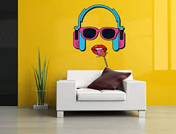 Amazon Com Headphones Pop Art Lollipop Wall Vinyl Sticker Car Mural Decal Art Decor Lp7419 Handmade