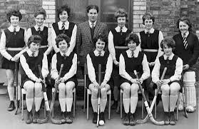 Irish Hockey Archive - 1961-62 Arlene Hunniford, Myrtle Richardson, Emily  Matchett, Mr. S. Jones, Rene' Clingan, Muriel Wgerton, Joan Elkin. Ann  Hollinger, Lily Reavie, Muriel Woolsey (Capt.), Sandra Curran, Annette  Breeze.   Facebook