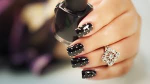 beads on black nail art you