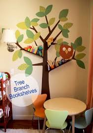 Diy Tree Branch Bookshelves For Baby Kids Room We Have Always Loved This Type Of Wall Stickers As They Are So Easy T Bookshelves Diy Tree Bookshelf Diy Tree