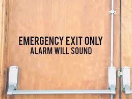 Emergency Exit Only Alarm Will Sound Decal Store Decals