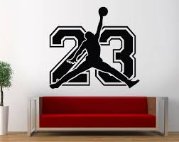 Michael Jordan Wall Decal Jordan 23 Sign Decal Basketball Etsy In 2020 Basketball Wall Decals Basketball Bedroom Kids Room Wallpaper
