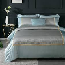 sout out pure silk duvet cover in aqua