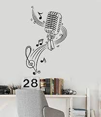 Music Wall Decal Microphone Singer Notes Music Karaoke Vinyl Stickers Ig377 Ebay