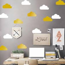 Little Gold Cloud Wall Decal Stickers Kids Room Decor Removable White Cloud Vinyl Wall Decals Baby Nursery Clouds Decor A712 Room Decoration Kids Room Decorationcloud Decoration Aliexpress