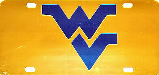 West Virginia Mountaineers Wv Gold Mirror Laser Cut License Plate