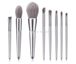 makeup brushes set beauty tools silver