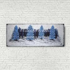 Original Blue Black Trees Painting Impasto Textured Large Etsy