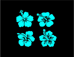 Hibiscus Flower Decals Custom Vinyl Car Truck Window Laptop Stickers Set Of 4 Hibiscus Flowers Hibiscus Custom Decal Stickers