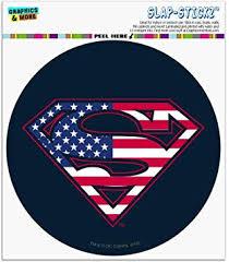 Amazon Com Graphics And More Superman Usa American Flag Shield Logo Automotive Car Window Locker Circle Bumper Sticker Automotive