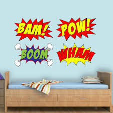 Vwaq Comic Book Set Of 4 Wall Decal Bam Pow Boom Wham Superhero Vinyl Wall Art Peel And Stick Kids Room Stickers Cb5 10 H X 16 W Walmart Com Walmart Com