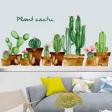 Tropical Succulent Plants Cactus Wall Stickers Green Decal Kids Nursery Home Decor Cartoon Kids Room Classroom Decorative Art Wall Stickers Aliexpress