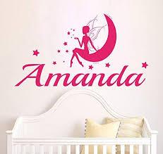 Amazon Com Wall Decals Personalized Name Decal Vinyl Sticker Angel Fairy Moon Star Girl Baby Children Nursery Bedroom Decor Art Murals Mn27 Home Kitchen