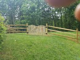 Residential Fencing 3 Board Split Rail Fence Installation In Fairfax Station Va Double Wide Gate In Fairfax Station Va