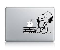 Snoopy Reading Apple Macbook Vinyl Decal Sticker Apple