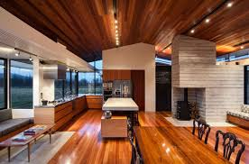 modern ranch style home with land