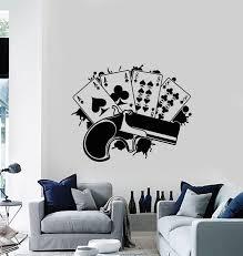 Vinyl Wall Decal Gun Playing Cards Poker Gambling Mafia Luck Stickers Wallstickers4you