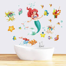Amazon Com Runtoo The Little Mermaid Wall Decals For Girls Ariel Wall Stickers Princess Fish Wall Decor For Girls Bedroom Baby Nursery Home Kitchen