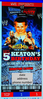 Wwe Birthday Invitation With My Son S Picture Incorporated With