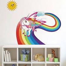 Unicorn Rainbow Wall Sticker Wall Decal Art Girl Boys Bedroom Nursery Plsei 2 82 Picclick