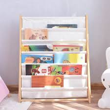 Fashion White Wooden Kids 7 Tier Canvas Book Display Rack Buy Popular Wooden Kids Canvas Magazine Rack Bookshelf Display Children Wood White Book Display Storage Rack Kids Furnitue Wooden Library Bookcase Product On