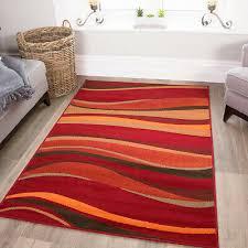 warm red brown burnt orange waves rug