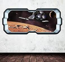 Amazon Com Full Colour Space Planet Window Galaxy Stars Moon Wall Art Sticker Decal Boys Girls Bedroom Home Design Ideas Wall Transfers Wsd273 Baby