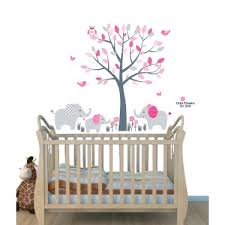 Pink Jungle Tree Wall Art For Nursery With Elephant Wall Decor For Nursery Or Baby Room