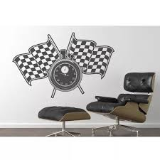 Vova Racing Flags Stop Watch Vinyl Wall Decal Removable Art Wall Sticker Mural 3d Design House Decoration For Boy Living Room Ea003