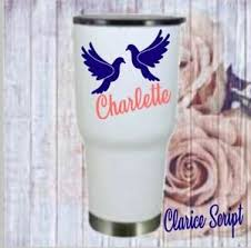 Birds Monogram Vinyl Decal Personalized Name For Your Tumbler Cups Mugs Women Ebay