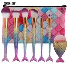 maange 7pcs mermaid makeup brushes set