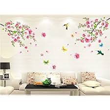 Amazon Com Hever Good Life Pink Cherry Blossom Tree Wall Decal Flower Floral Wall Sticker With Butterfly Vinyl Art Wall Decal Wall Decal Mural Home Kitchen