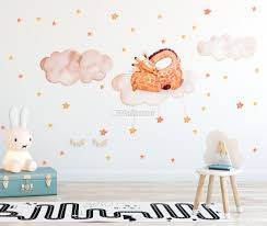 Nursery Watercolor Sleeping Giraffe And Clouds With Little Stars Wall Decal Sticker Wall Decals Wallmur
